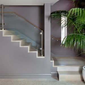 staircase with indoor plant at base