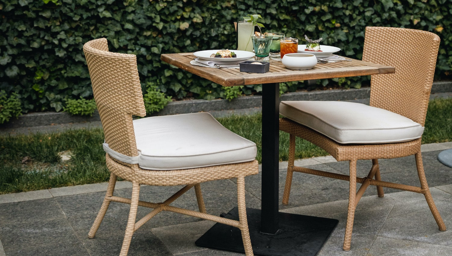 Outdoor table set for two at Magdalena restaurant.