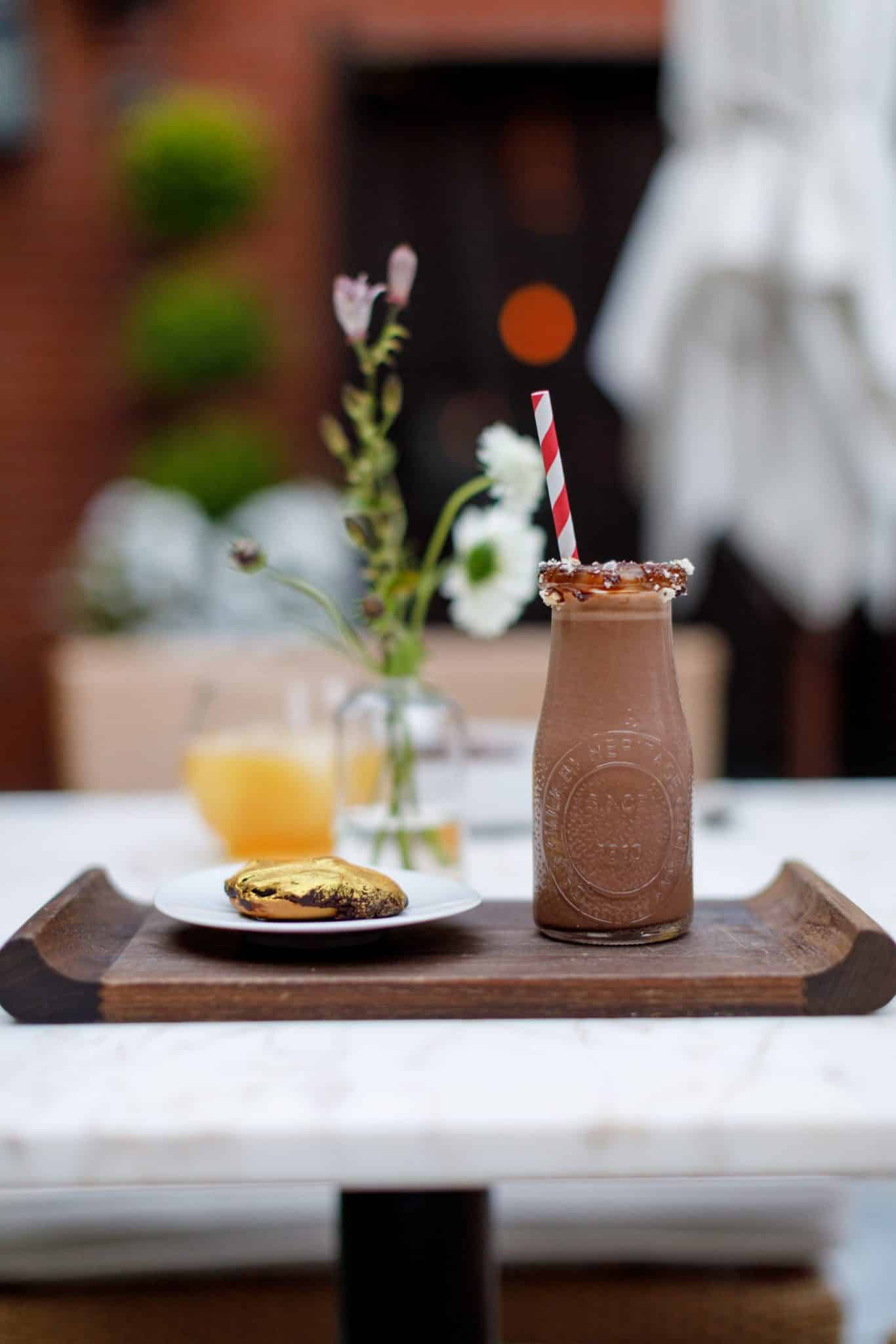 A dessert drink and side