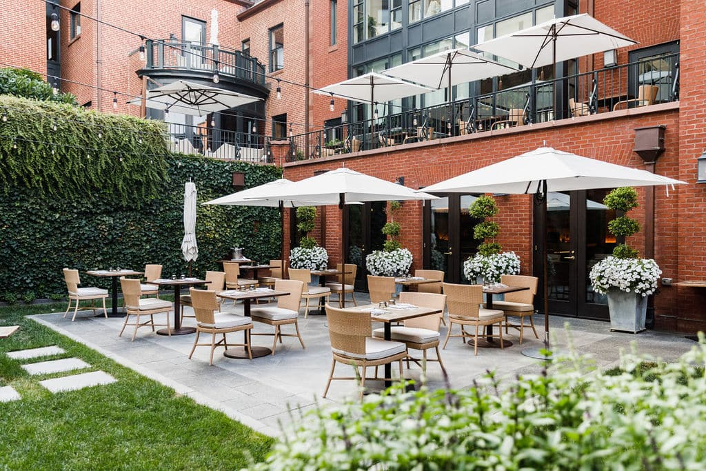 Courtyard set up for outdoor seating
