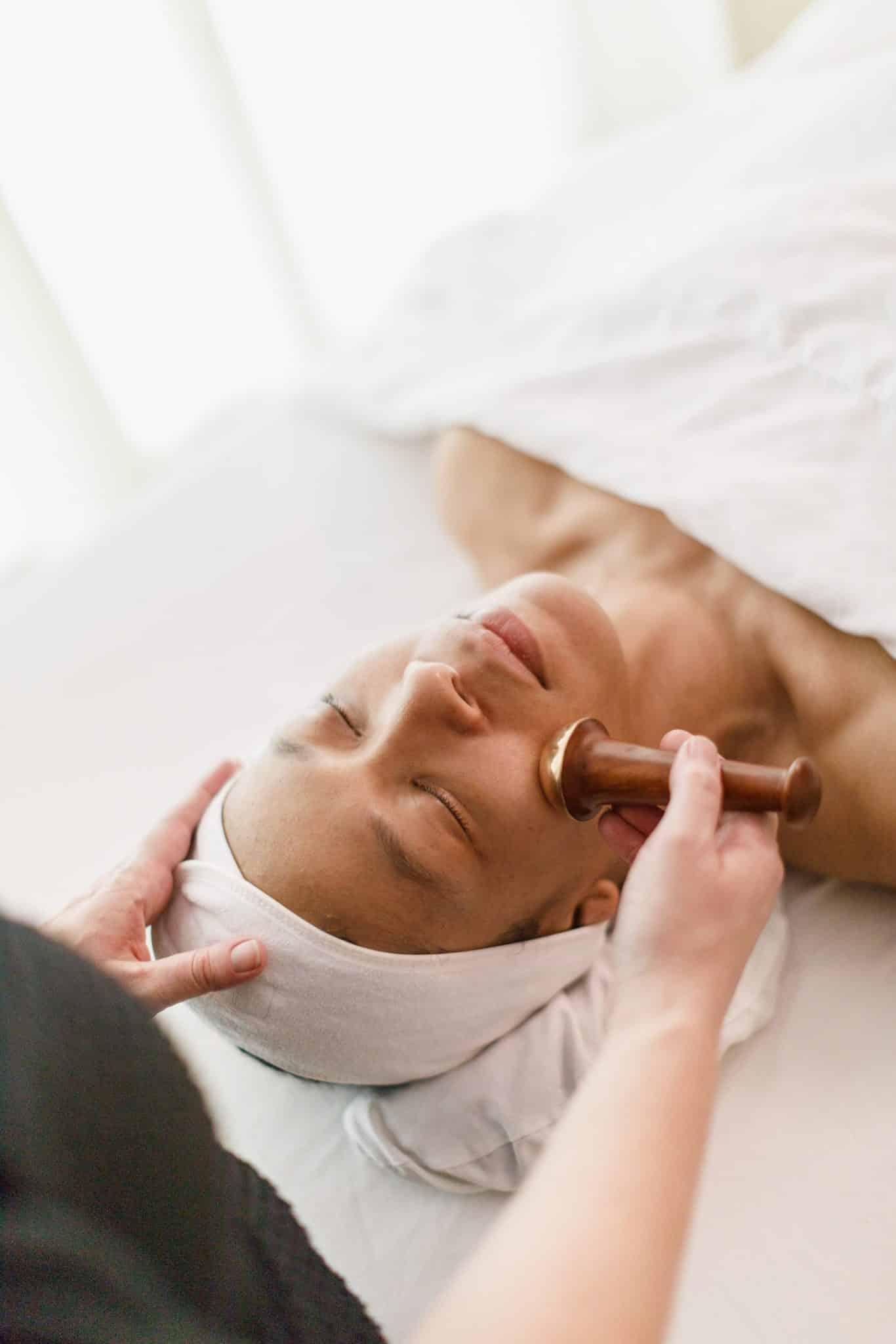 A person getting a facial