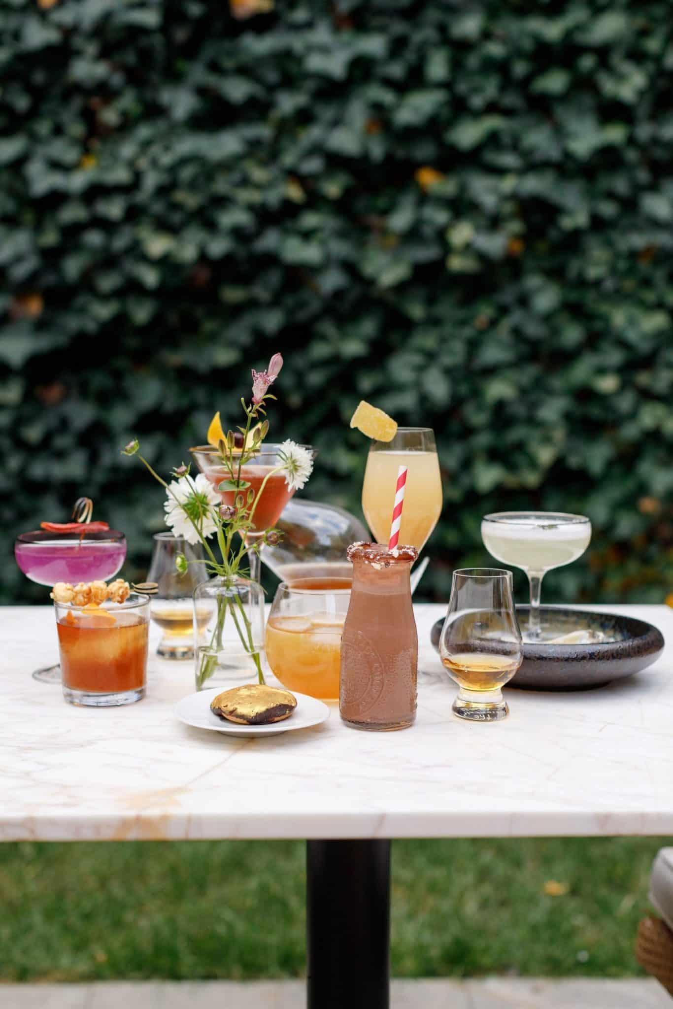An array of drinks on a table