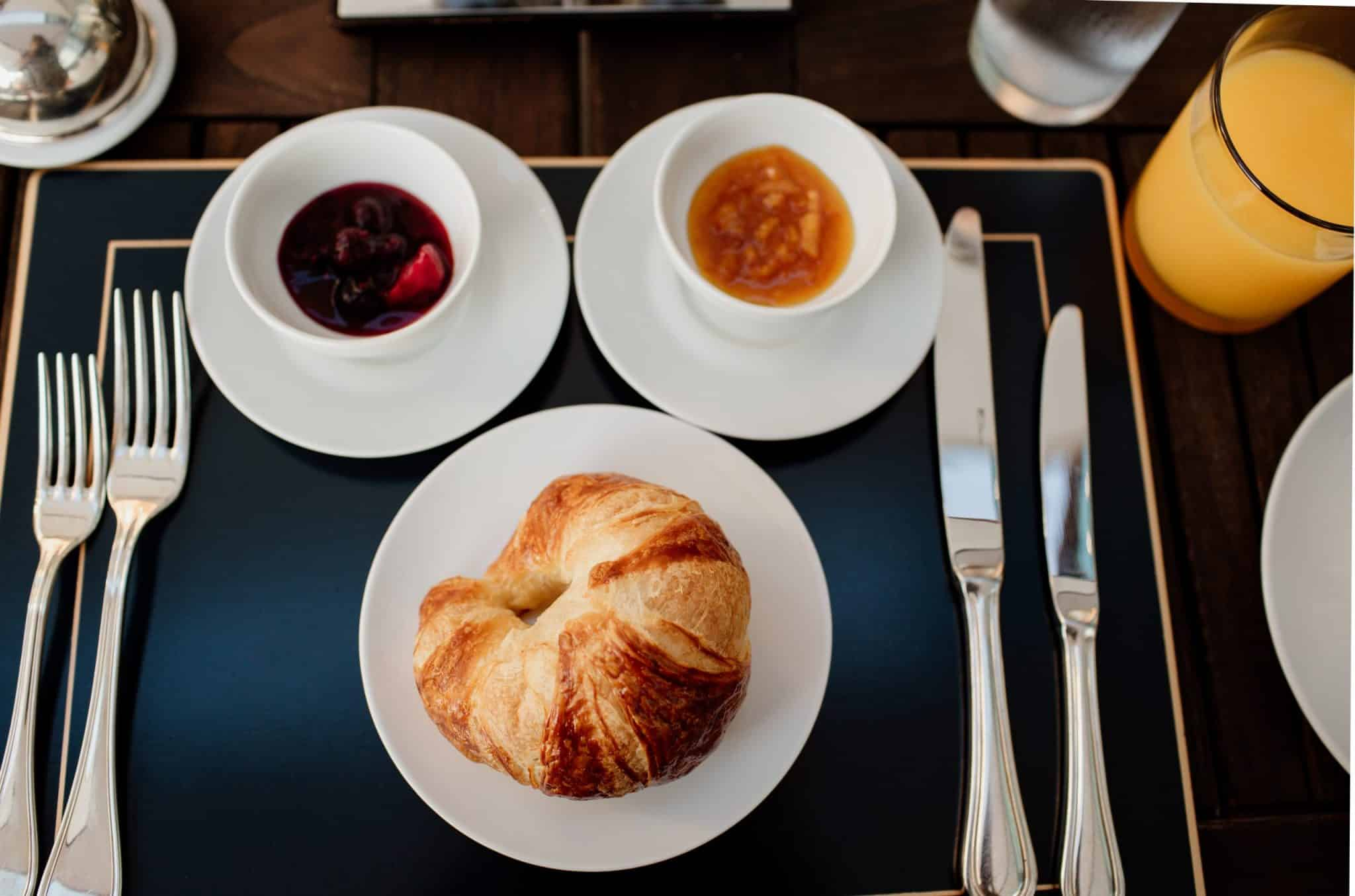 Croissant and spread for breakfast