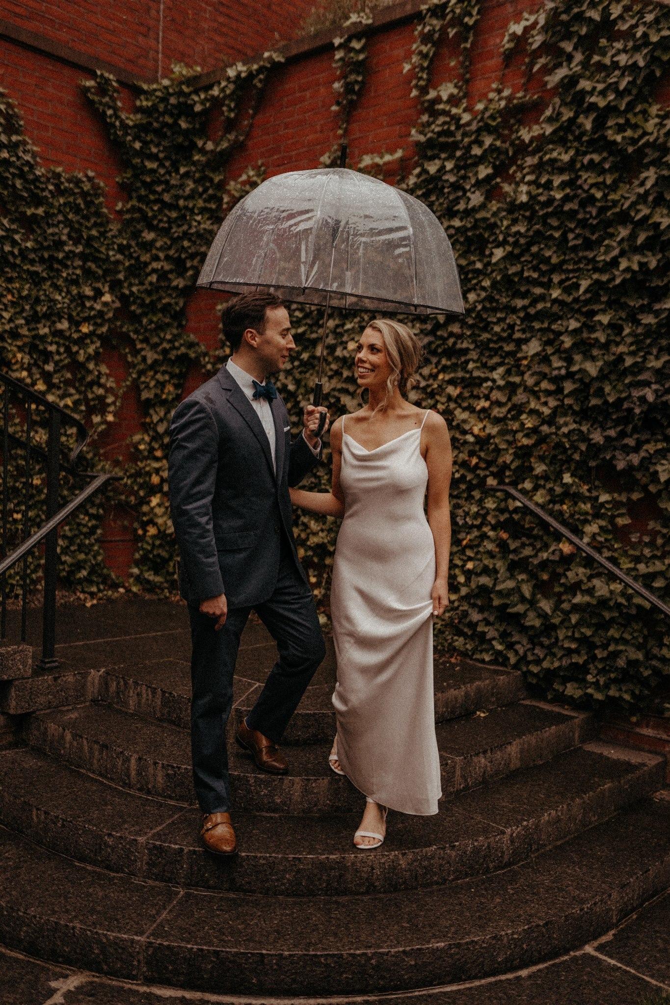 Bride & Groom Under Umbrella