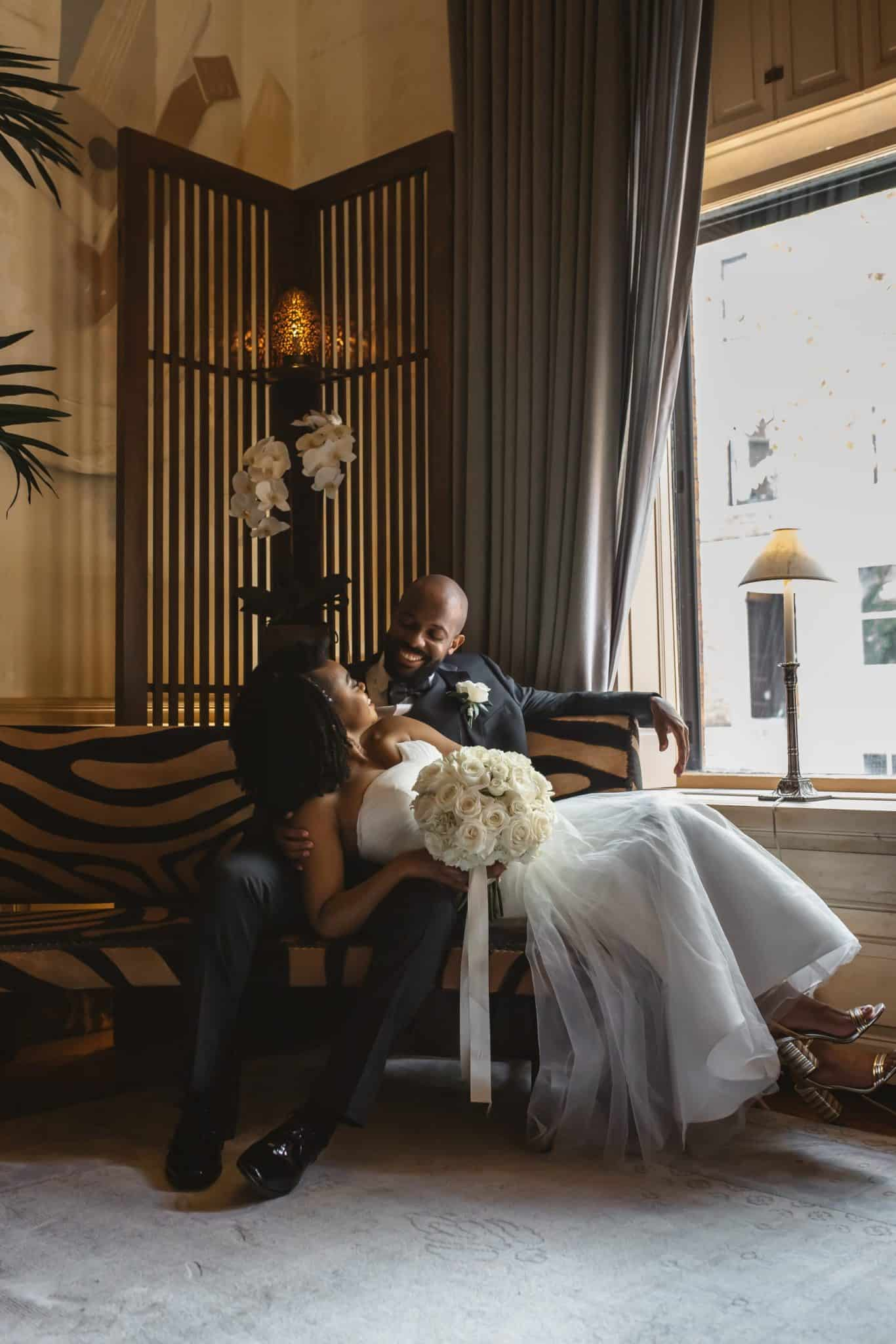 Bride and Groom at The Ivy Hotel